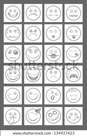 Clean Emoticon Icons. White edition smiley, face expression. Happy, happiness, delicious, yummy, angry, smile, laugh, shock, mad, sad, afraid,  sadness, cry, sleep, sick, shy, kiss, party, love, - stock vector