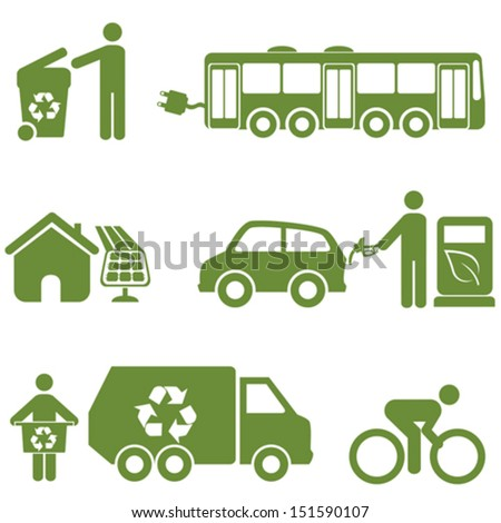 Clean energy, recycling and environment symbols - stock vector