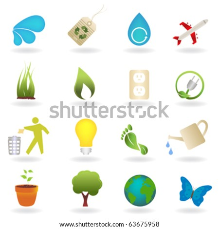 Clean environment related icon set - stock vector