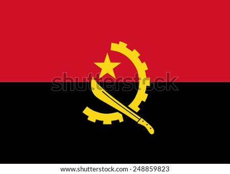 Clean flag of Angola, Africa, vector illustration - stock vector