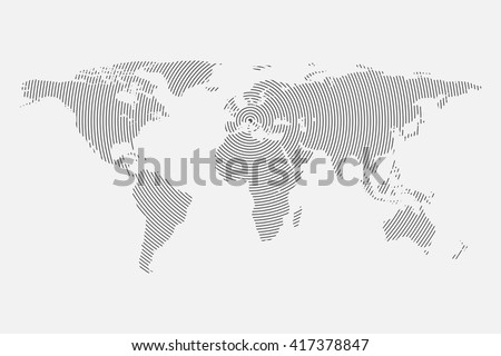 Clean Gray wave world map isolated on white background. Centric circles. Modern trendy Vector template for website, design, cover, infographics. Graph illustration. - stock vector