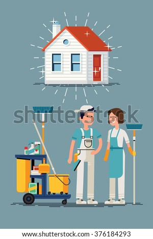 Clean house vector concept design. Cleaning workers characters and cleaning equipment with shining clean house in trendy flat design. Friendly smiling adult janitor workers standing - stock vector