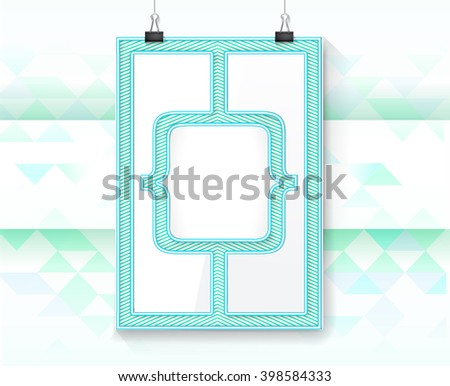 Clean Magazine Cover Page A4 Paper Mock Up in Blue Colors - stock vector