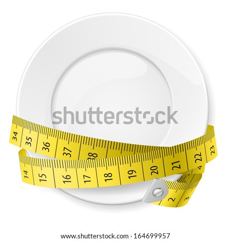 Clean plate with measuring tape as diet concept.  - stock vector