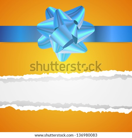 Clean vector background with ribbon and tear wrapping paper for birthday or Christmas gift - stock vector