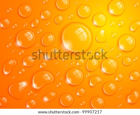 Clean water drop background on orange surface - stock vector