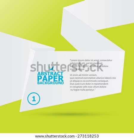 clean white origami paper speech bubble or web banner on green background .vector illustration - stock vector