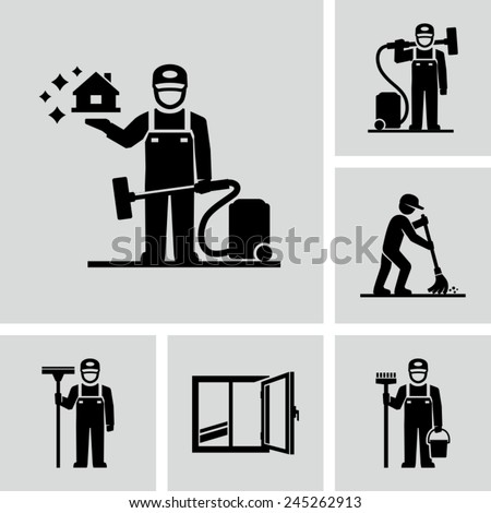 Cleaner Man working Vector Pictogram Figure icons  - stock vector