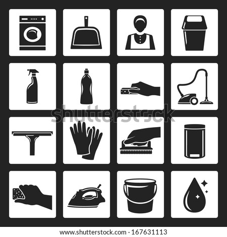 cleaning flat design black icons set. template elements for web and mobile applications - stock vector