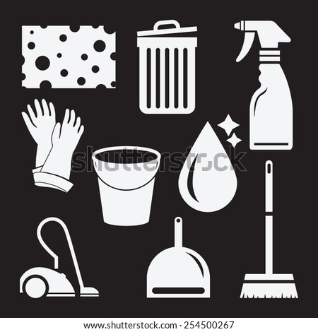 Cleaning icon set. Template elements for web and mobile applications. - stock vector