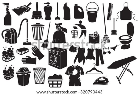 cleaning icons (bucket, plunger, soap with foam, dustpan, hand holding trash bag, washing machine, broom, recycling sign, clothes hanging on a clothesline, trash bin, vacuum cleaner, detergent) - stock vector