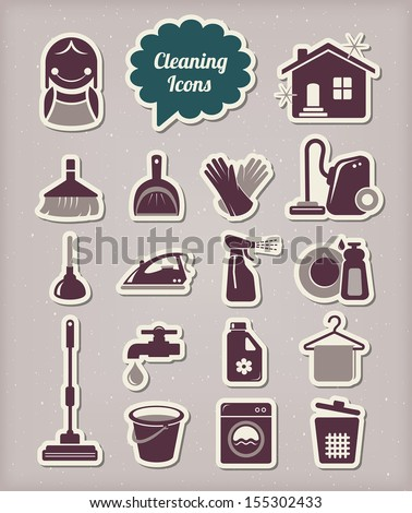 Cleaning icons paper cut style - stock vector