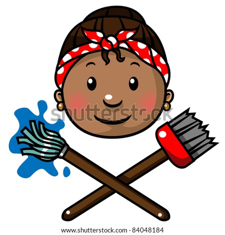Cleaning lady with a mop and a broom icon, vector illustration - stock vector