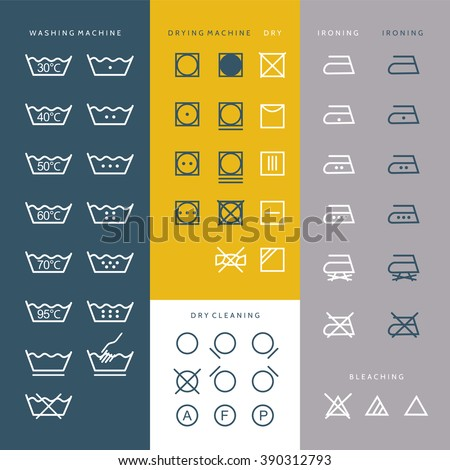 Cleaning Laundry And Washing Icons, set of vector elements and illustration - stock vector