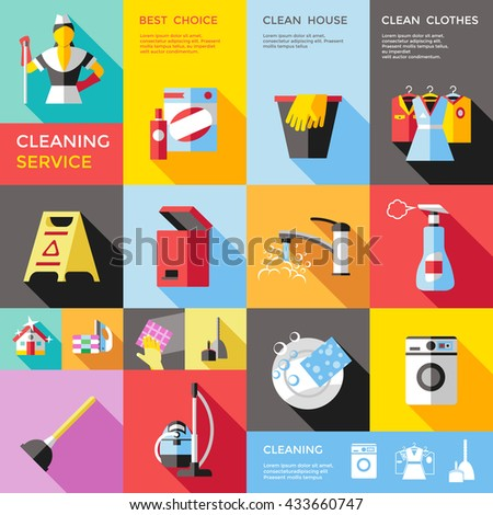 Cleaning service decorative flat icons set with bin tap clothes ironing machine dishes bucket isolated vector illustration  - stock vector