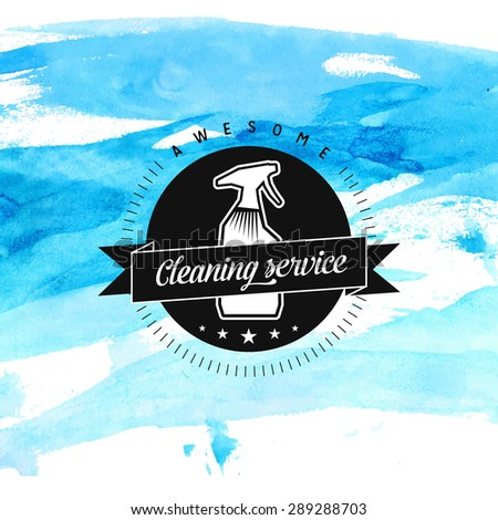 Cleaning service vector badge with spray and ribbon at blue watercolor background - stock vector