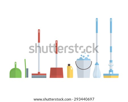 Cleaning set, isolate, flat design - stock vector