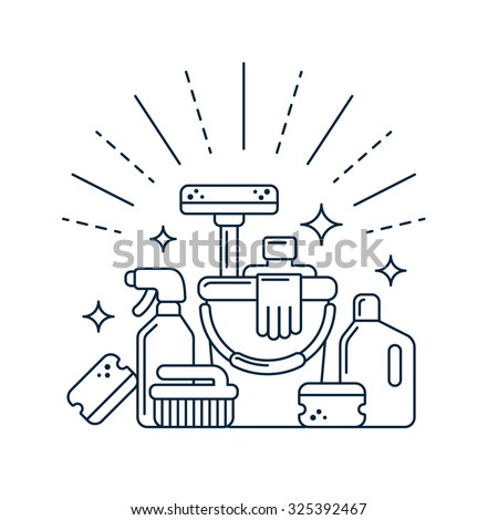 Cleaning supplies in modern line style. Vector illustration. - stock vector