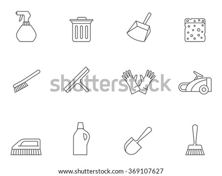Cleaning tool icons in thin outlines.  - stock vector