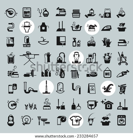 Cleaning Tools icons. vector black cleaning icons set - stock vector