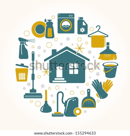 Cleaning tools round card - stock vector