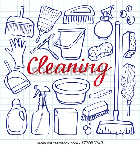 Cleaning tools set. Hand-drawn cartoon collection of house cleaning stuff - bucket, sponge, mop, gloves, spray, brush, shovel. Doodle pen drawing on the notebook page. Vector illustration - stock vector