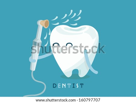 cleaning tooth - stock vector