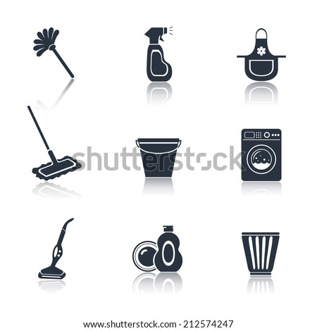 Cleaning washing housework black icons set of mop vacuum cleaner bucket isolated vector illustration - stock vector