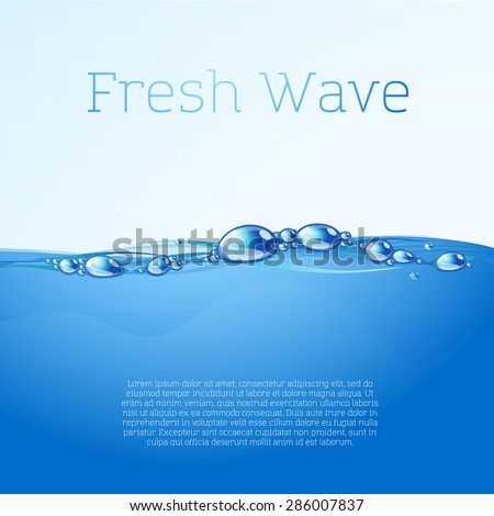 Clear blue water flow with bubbles and droplets. Vector. - stock vector