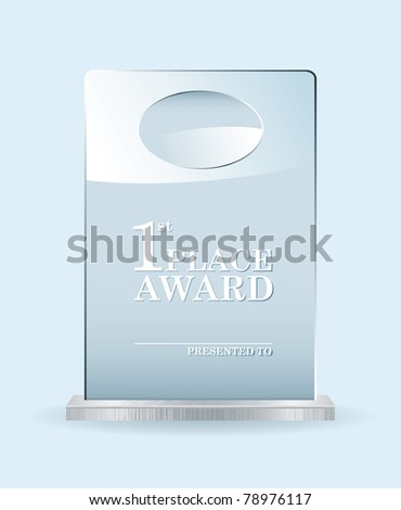 Clear glass award with room to add your own name or company - stock vector