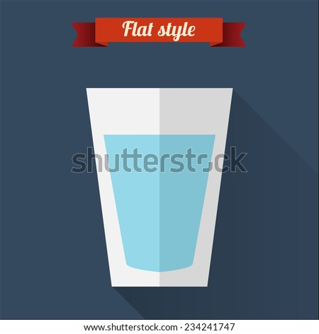 Clear water flat icon with long shadow. Vector illustration - stock vector