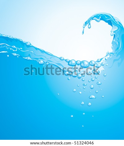 Clear water wave splashing background.  (vector layered) - stock vector