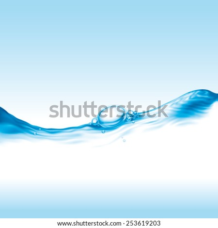 clear water wave with air bubble, photo-realistic vector illustration - stock vector