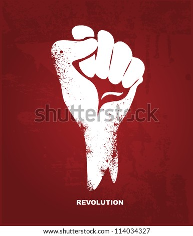 Clenched fist hand.  Revolution concept - stock vector