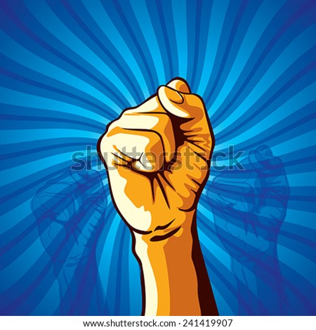 clenched fist held in protest vector illustration. - stock vector