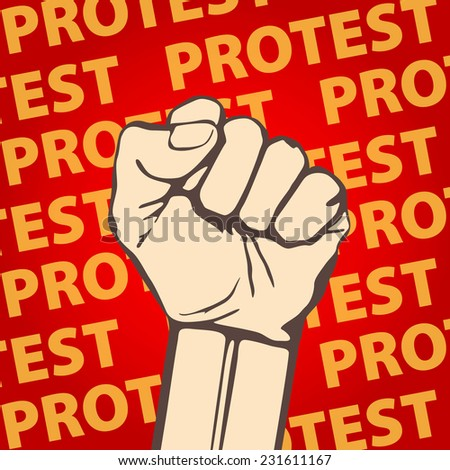 clenched fist held in protest vector illustration. art freedom - stock vector