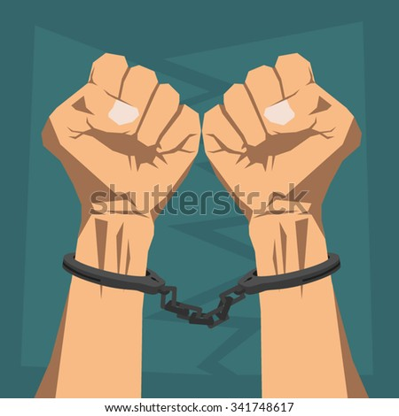 Clenched hands in handcuffs - stock vector