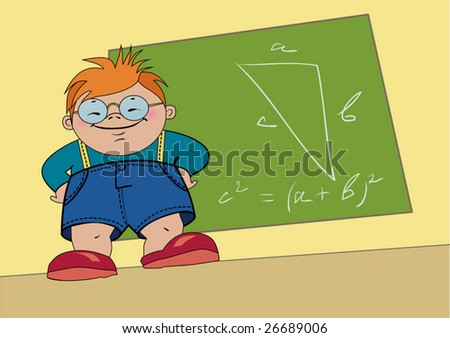 Clever boy - stock vector