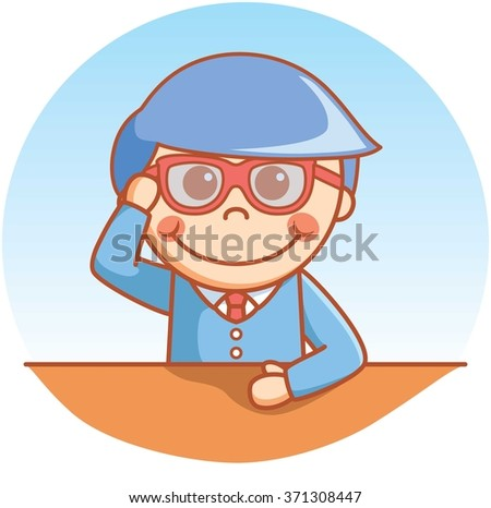 Clever boy serious - stock vector