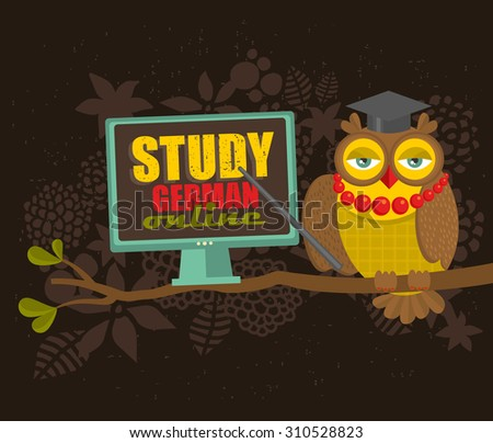 Clever owl on the tree with computer. Advertisement of German language courses online. Vector illustration. - stock vector