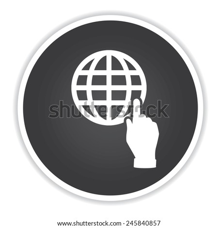 Click global design on black button background,clean vector - stock vector
