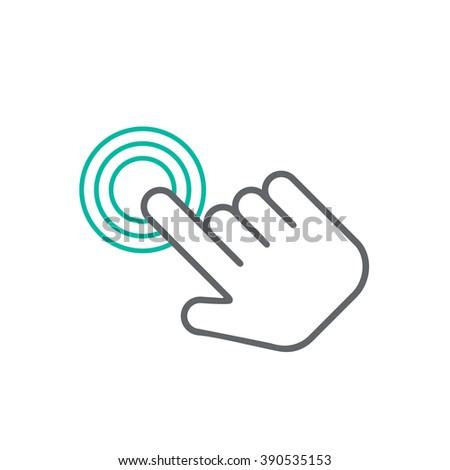 Click hand icon,  click hand icon vector,  flat click hand icon design. Click hand icon on white background. Hand click icon. Target hand click. Web hand click icon.Hand click pictogram icon.  - stock vector