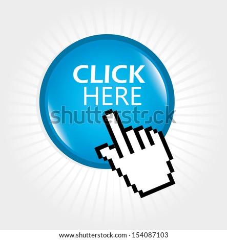 click here design over white background vector illustration - stock vector