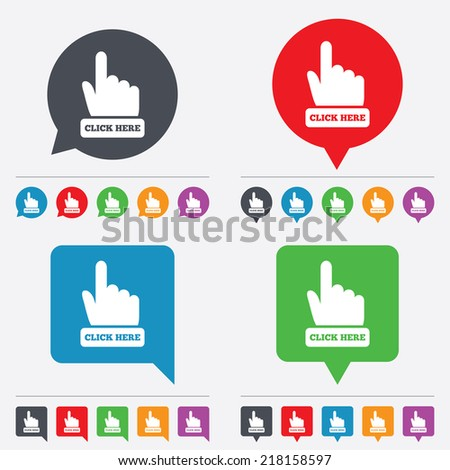 Click here hand sign icon. Press button. Speech bubbles information icons. 24 colored buttons. Vector - stock vector