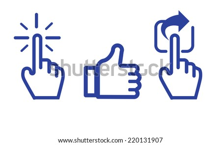 Click Like Share icon in blue color ,hand cursor and like thumb up and share icon in isolated on white background - stock vector