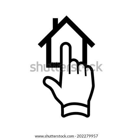 click on house with one finger vector real estate hand and house icon | modern flat design black pictogram isolated on white background - stock vector