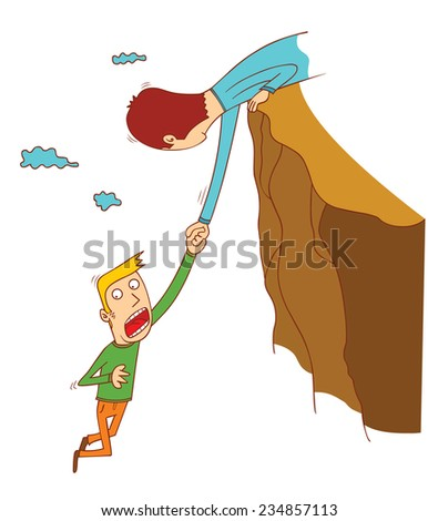 cliff falling - stock vector