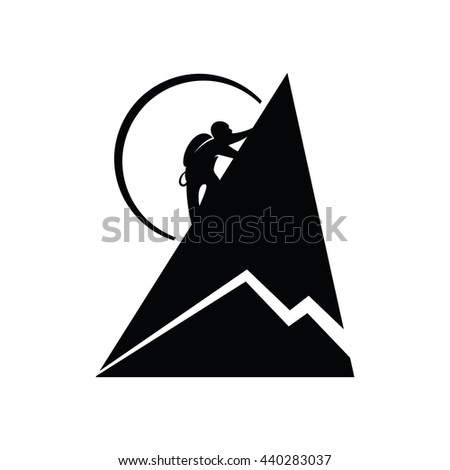 Climber in the mountains. Vector illustration. - stock vector
