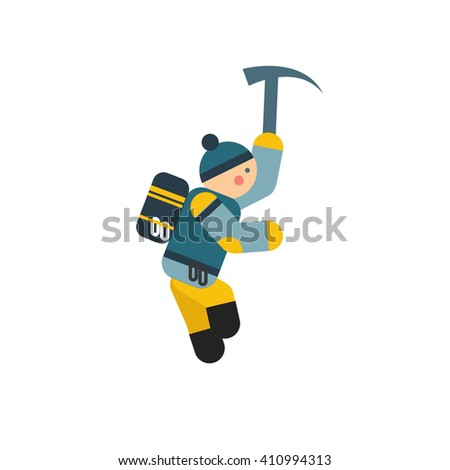 Climber with backpack vector cartoon illustration. Icon - stock vector