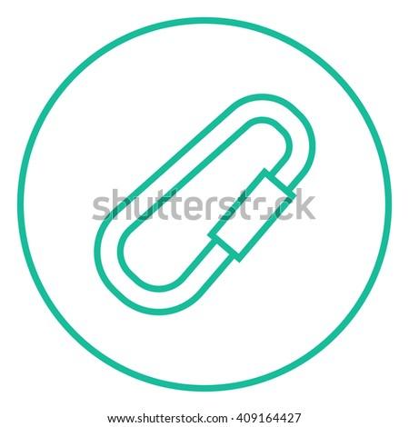 Climbing carabiner line icon. - stock vector